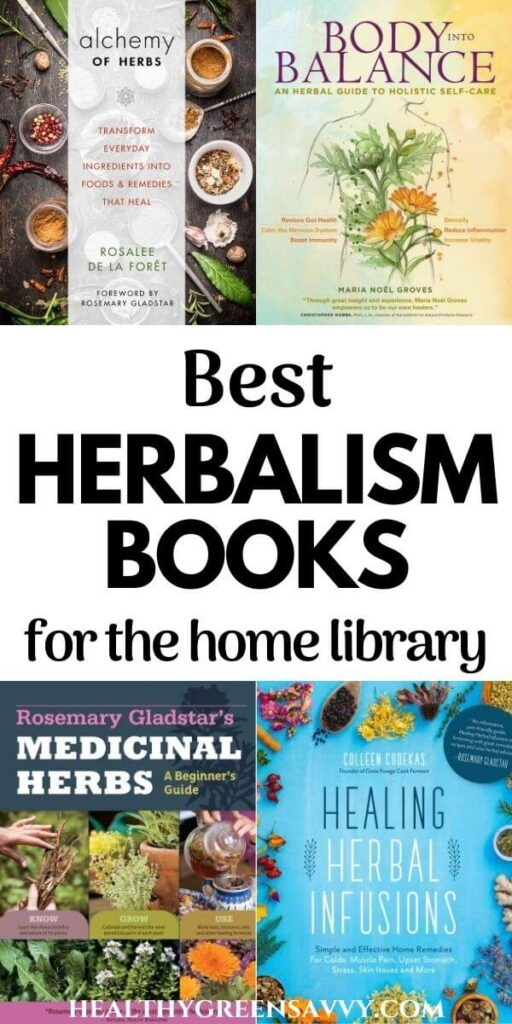 pin with collage of photos of covers of best herbalism books