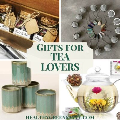 photo collage of gifts for tea lovers: loose tea, strainers, handmade teacups and glass teapot