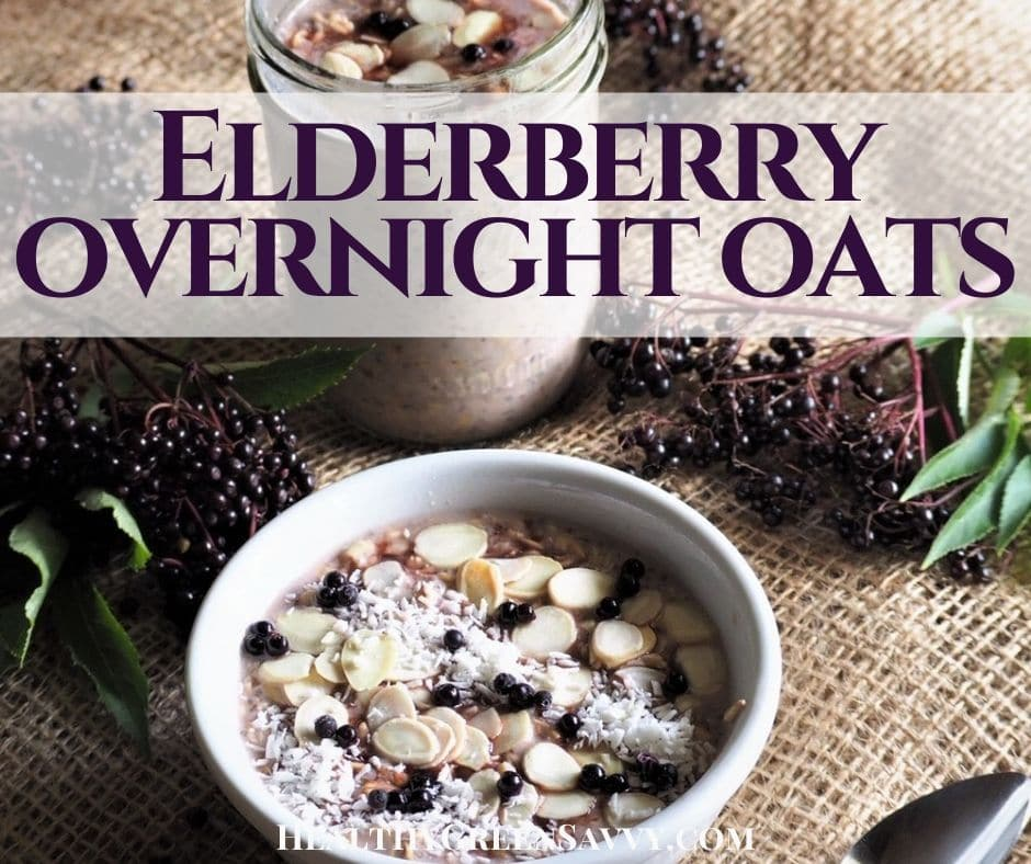 cover photo of healthy overnight oats recipe with elderberry and title text overlay