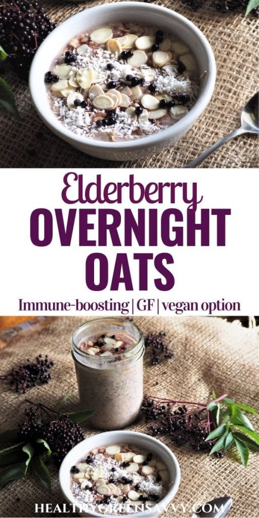 pin with photos of healthy overnight oats recipe with elderberry and title text