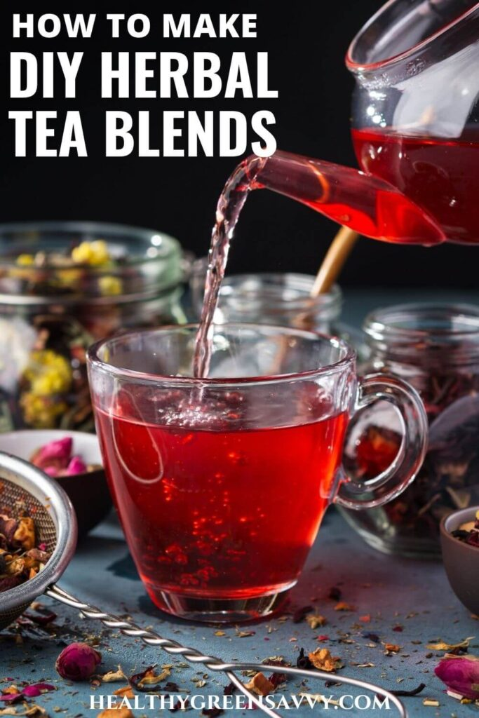 pin with photo of DIY herbal tea blend being poured into glass cup with title text