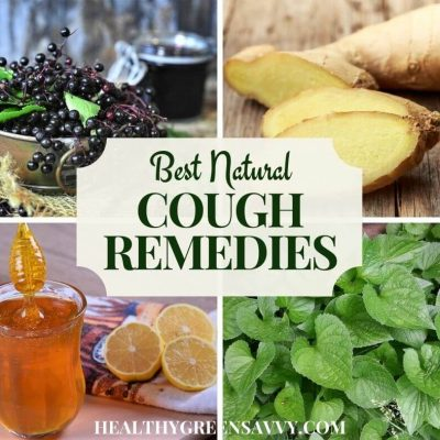 cover with photo collage of home remedies for cough, elderberry, ginger, honey, and violet with title text