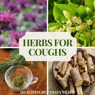 cover collage with photos of herbs for cough bee balm, linden, pine, and licorice plus title text