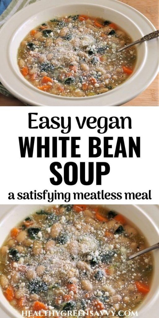 pin with photos of bowl of vegan white bean soup and title text