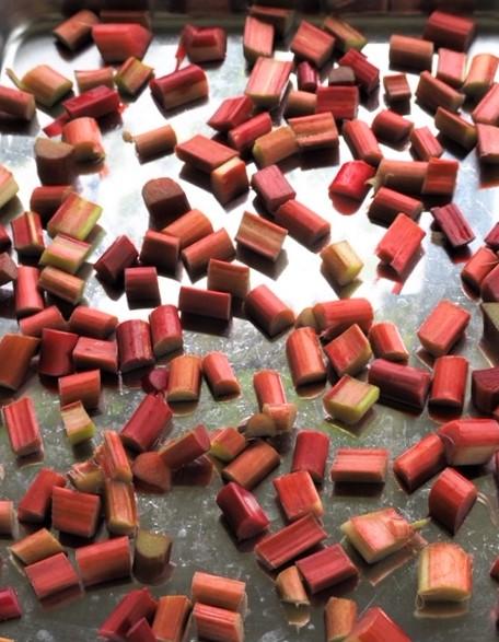 photo of chopped frozen rhubarb on sheet pan