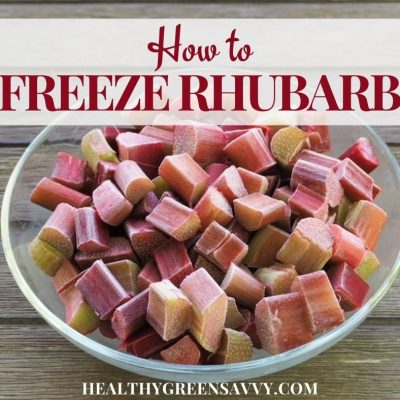 cover photo of bowl of frozen rhubarb with title text overlay