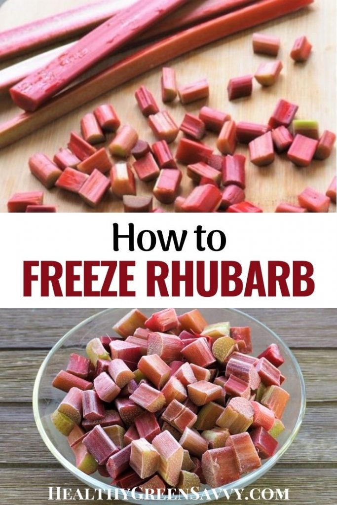 pin with photos and chopped rhubarb stalks and bowl of frozen rhubarb with title text