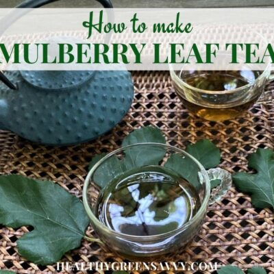 cover photo with cups of mulberry tree leaf tea on tray fresh mulberry leaves and title text overlay