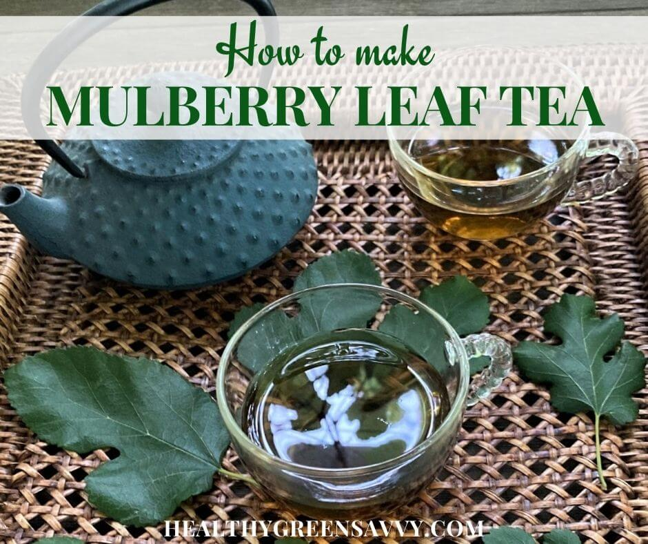 cover photo with cups of mulberry tree leaf tea on tray with fresh mulberry leaves and title text overlay
