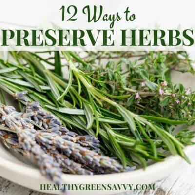 cover photo of fresh herbs in bowl with title text overlay