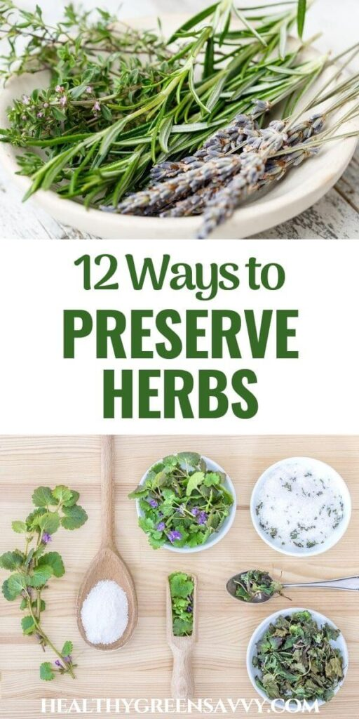 pin with photos of fresh herbs in bowl and preserved in salt with title text