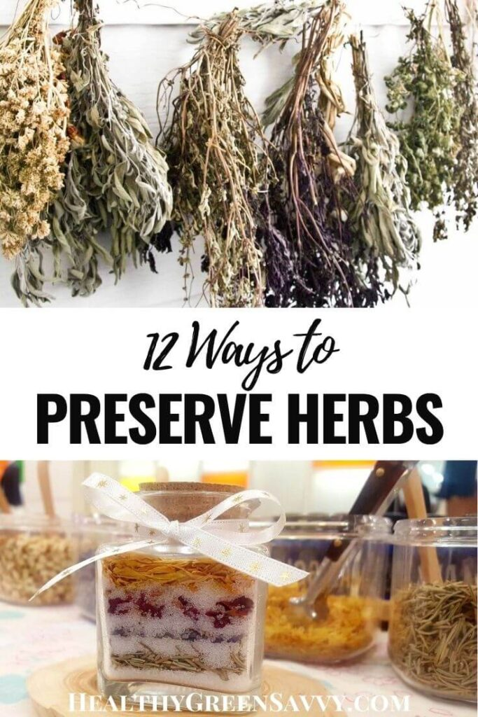 pin with photos of herbs drying and preserved in salt with title text