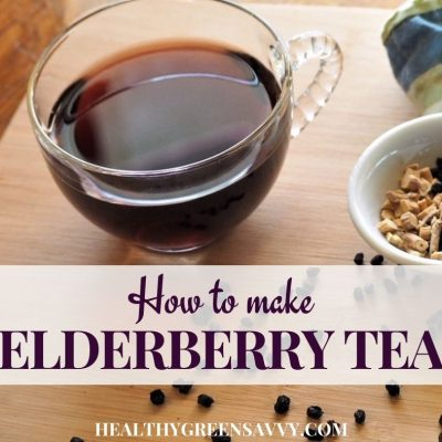 cover photo of elderberry tea and title text overlay