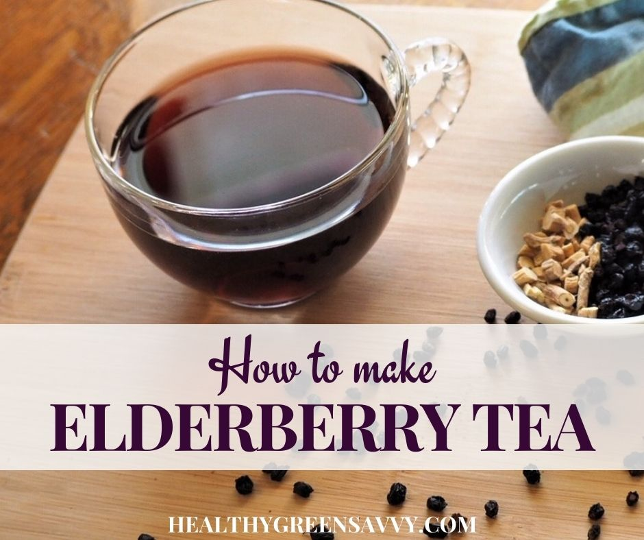 cover photo of elderberry tea with title text overlay
