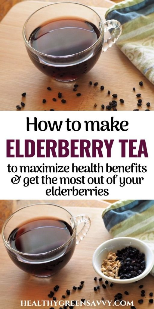 pin with photos of elderberry tea and title text