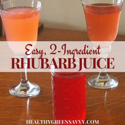 cover photo of rhubarb juice in jar and goblets with title text overlay